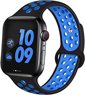 EXCHAR Sport Band Compatible with Apple Watch Band 44mm Series 5/4 Breathable Soft Silicone Replacement Wristband Women and Men for iWatch 42mm Series 3/2/1 Nike+ All Various Styles M/L Black Bule
