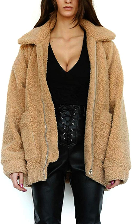 YOUMU Women Faux Fur Lamb Zipper Coat Boyfriend Oversized Jacket Covercoat Jacket Long Sleeve
