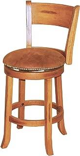 Sunny Designs 1883RO Sedona Swivel Stool with Back, Rustic Oak Finish