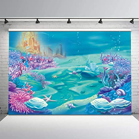 Mermaid 10x12 FT Photography Backdrop Cute Mermaid Playing with Her Hair Folk Mythical Character Princess Background for Child Baby Shower Photo Vinyl Studio Prop Photobooth Photoshoot