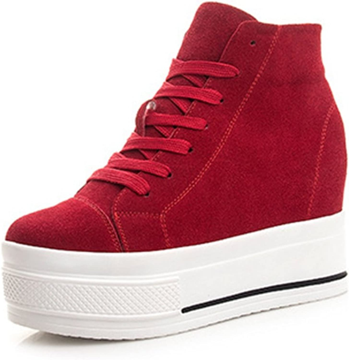 Btrada Btrada Btrada Woherrar Formal Wedge Mode Sneeaker High Top duk Lace Up Platform skor  snabb frakt över hela världen