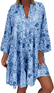 Plus Size Women's Loose Floral Print Dress, Casual Long Sleeve Irregular Hem Holiday Mini Dress Bohemian Sundress S-5XL