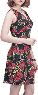 YISHIWEI Women's Sleeveless V-Neck Sexy Summer Floral Tank Dress