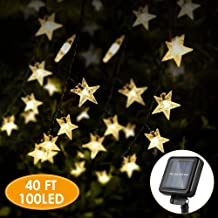 KeShi 40FT 100LED Solar Star String Lights, 8 Modes Solar Powered Twinkle Fairy Lights, Waterproof Star Twinkle Lights for Outdoor, Gardens, Lawn Patio, Landscape, Xmas, Holiday (Warm White)