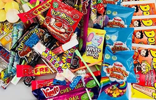 Caja de 100 caramelos retro mixtos ideal para bodas, carros, piñatas, bolsas de botín, Halloween, caja de compartir, cine - noches de cine, para sus hijos
