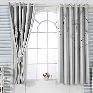 Jinguizi Grommet Window Curtain Blackout Curtain Dandelion,Seed Blowing Away Floral Illustration Monochrome Arrangement Romantic Pattern,Black White Curtain Panels 63 x 45 inch