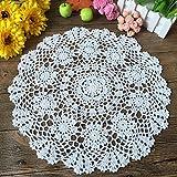Laivigo New Handmade Crochet Lace Round Table Cloth Doilies Doily,16 Inch,White