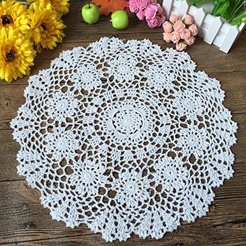 Laivigo New Handmade Crochet Lace Round Table Cloth Doilies Doily,20 Inch,White