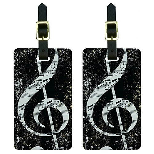 Graphics & More Vintage Treble Clef Music Black Luggage Tags Suitcase Carry-on Id, White