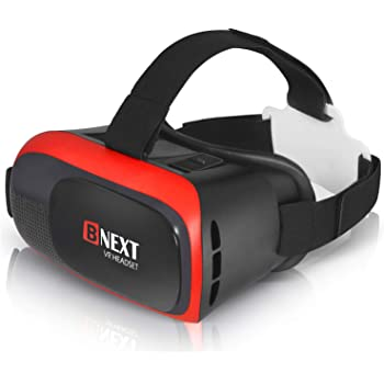 VR Headset Compatible with iPhone & Android - Universal Virtual Reality Goggles for Kids & Adults - Your Best Mobile Games 360 Movies w/ Soft & Comfortable New 3D VR Glasses (Red)