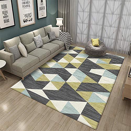 RUGMYW Respirable alfombras Pelo Corto Salon Patrón geométrico clásico Beige Gris Azul...