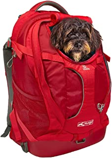 Kurgo Dog Carrier Backpack for Small Pets - Dogs & Cats   TSA Airline Approved   Cat   Hiking or Travel   Waterproof Bottom   G-Train   K9 Ruck Sack   Red   Grey