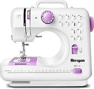 Moregem ミシン 家庭用ミシン 初心者向け 12種類の縫い目 正/逆縫いモード 裁縫セット付き 機能充実 手作り DIY 縫製 持ち運び便利 フリーアーム仕様