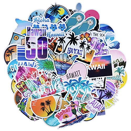 ROZO Hawaii Aufkleber 50 Stuck Wasserdicht Vsco Graffiti Vinyl Stickers Aesthetic Decals Pack fur Auto Motorrad Laptop Skateboard Fahrrad Notebook Gitarre Gepack MacBook iPad und mehr Multicolor