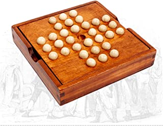 Wooden Marble Solitaire Board Game,Jumping Marbles Peg Solitaire,with Storage Box Function and Marbles,Solitaire Chess for...