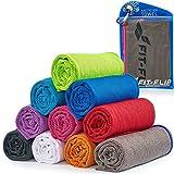 Cooling Towel für Sport & Fitness, Mikrofaser Handtuch/Kühltuch als kühlendes Handtuch für Laufen, Trekking, Reise & Yoga, Airflip Cooling Towel, Farbe: grau-rosa Rand, Größe: 100x30cm