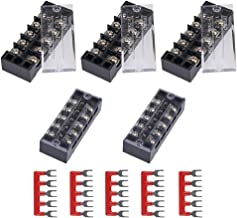 DELIXI 10pcs (5 Sets) 600V 25A 5 Positions Double Row Screw Terminal Strip + 600V 25A 5 Positions Red Pre-Insulated Terminal Barrier Strip TB2505