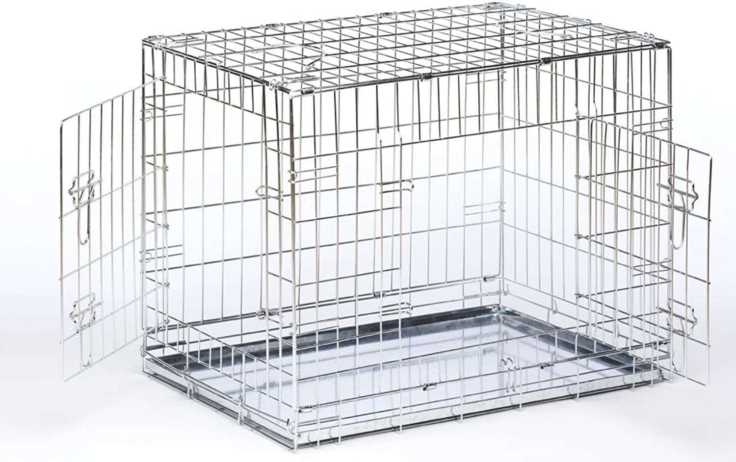 PGO Dog Cage Puppy Crate Black   Silver Pet Carrier (XXLarge 48 , Silver)