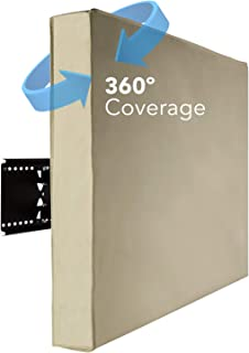 Mount-It! Outdoor TV Weatherproof Cover for 50 - 52 inch TVs | Bottom Seal Weatherproof TV Protector for OLED, LCD, LED TVs with Remote Control Pocket