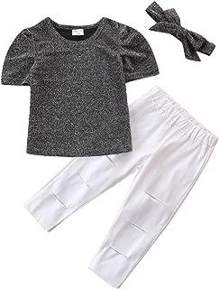 Toyvian Kids Clothes Suit Cotton Summer Fashion Soft Short Sleeve T-Shirt Pants Children Outfits for Girls Babies (Silver 90cm)