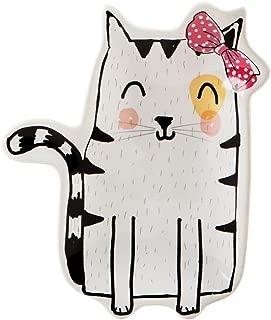 Home Essentials Ceramic White Cat Shaped Trinket Dish Ring Holder, 5