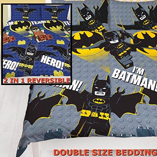 Super Hero DC Comic Character Lego Batman Reversible funda de edredón juego de ropa de cama para niños, Grey/Navy, Doublé