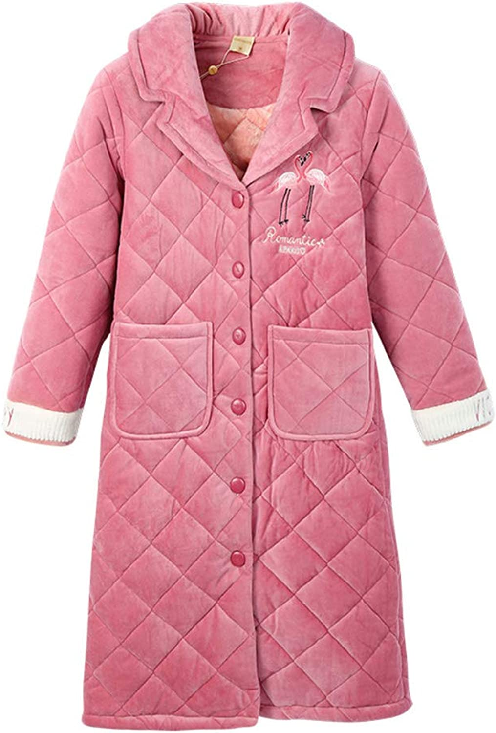 Pajamas Coral Quilted Robes Women's ThreeLayer Thick Flannel Bathrobes can be Worn Outside The Home Service (color   Pink, Size   L)