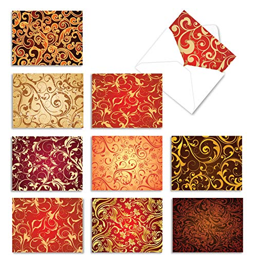 The Best Card Company - 10 All Occasion Note Cards with Envelopes (4 x 5.12 Inch) - Blank Notecard Set - Royal Fleurish M3089
