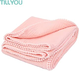 "TILLYOU 100% Soft Cotton Muslin Swaddle Blanket with Pom Pom, 44""x44"" Large - Fits Toddler Bed/Baby Crib/Newborn Stroller, Breathable Thermal Security Blanket for Receiving, Swaddling, Sleeping, Pink"