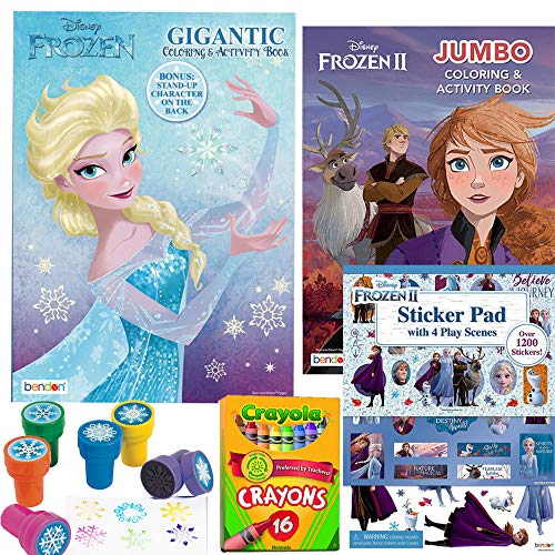 Disney Frozen and Frozen 2 Coloring and Stickers Activity Books Set