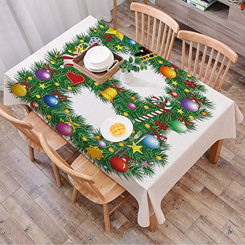 Tablecloth Rectangle Table Cloth Cotton Linen Wrinkle Free,Letter B,Tasty Candy Cane and Figure with Top Hat Suit Christmas Tree D,Tablecloths Washable Table Cover for Kitchen Dinning Party 140x200 cm
