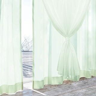 [カーテンくれない]二重レースカーテン 夜も目隠し! UVカット91%カット 次世代構造レース 断熱 遮熱効果 「Duet デュエット」 色:パウダーグリーン サイズ:(幅)100×(丈)198cm×2枚組 / Aフック 100×198cm グ...