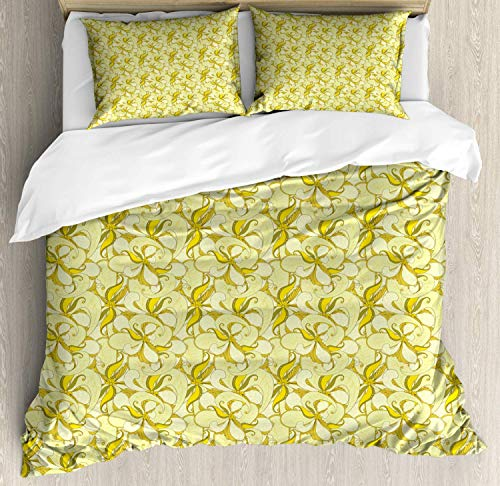Muted Colors Double Bedding Duvet Cover 3 Piece, Retro Summer Flowers and Leaves, Soft Bedding Protects with 1 Comforter Cover 2 Pillowcase, Pale Olive Green Pale Yellow Pale Earth Yellow and Yellow