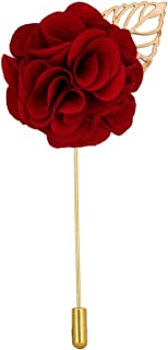 Knighthood Men's Handmade Bunch Flower with Gold Leaf Lapel Pin/Brooch