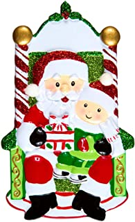 Personalized One Child on Santa's Lap Christmas Tree Ornament 2019 - Baby Toddler Sits Candy Cane Chair Papa Claus Gift First Visit Milestone Old Tradition Love Classic Year - Free Customization