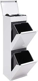 Arregui Top CR221-B Cubo de Basura y Reciclaje de Acero de 2 Cubos y Bandeja Superior Multiusos, Blanco, 97.5 x 30.6 x 24.4 cm