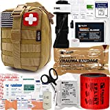 8. Falcon Medi-Tac Trauma Kit EMT IFAK Emergency Treatment Care First Aid Kit with Aluminum Rod Tourniquet for Severe Bleeding Control (Tan)