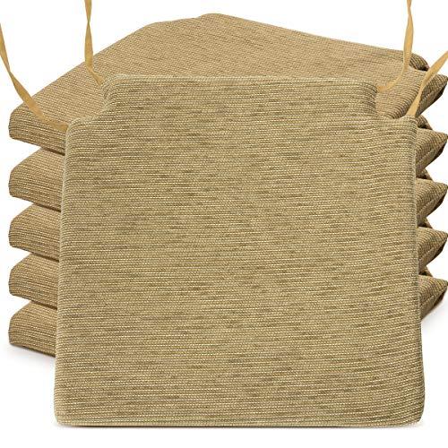 BCASE Pack de 6 Cojines de Asiento y Silla Espuma Fantasy, 40x40cm, Desenfundable con Cremallera, Cómodos, Resistentes, Fácil de Limpiar, para Cocina, Cuarto,Etc. Caqui
