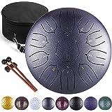 Ha-Drum 10インチ スリットドラム スチールタングドラム 打楽器 キャリーバッグ付き スティック付き 瞑想ヨガ (11音) ダークグレー ロータスキー