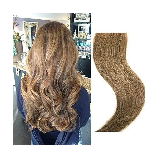 Beauty Shopping Clip in Hair Extensions Human Hair Brown Clip on for Fine Hair