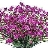 Pauwer 6 Paquetes de Flores de Ramo Falso, Plantas Artificiales de Interior, arbustos Verdes, plantación Floral al Aire Libre para la decoración de la Ventana del Porche del jardín del hogar (Fucsia)