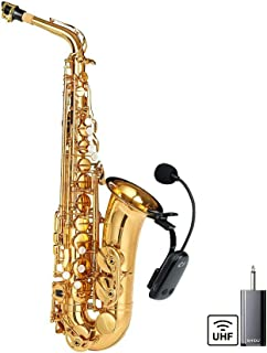UHF Wireless Instruments Saxophone Microphone, with Receiver Detachable Clip, Universal for Speaker Professional Musical Orchestra Trumpet HiFi Megaphone Voice Amplifier Condenser Mini Mic