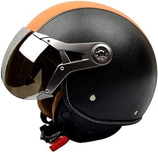 Retro 3/4 Face Scooter Motorcycle Helmet Genuine Leather Vintage Moto Helmets
