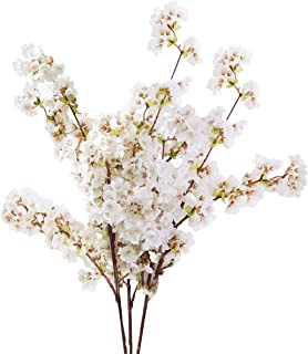 Sunm boutique Silk Cherry Blossom Branches, Artificial Cherry Blossom Tree Stems Faux Cherry Flowers Vase Arrangements for Wedding Home Decor, Set of 3