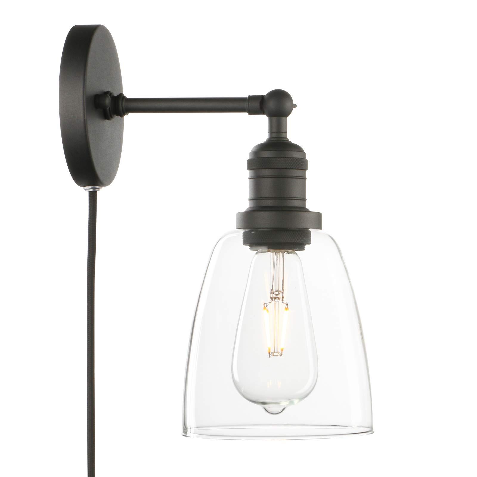 Phansthy Bathroom Vanity Light Matte Black Plug In Wall Sconce With 5 5 Inch Clear Glass Light Shade Buy Online In Aruba At Aruba Desertcart Com Productid 187379362