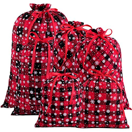 Aneco 6 Pieces 3 Sizes Red and Black Plaid Bags with Snow Pattern Holiday Wrapping Drawstring Bag Cotton Present Bags for Christmas Party Supplies
