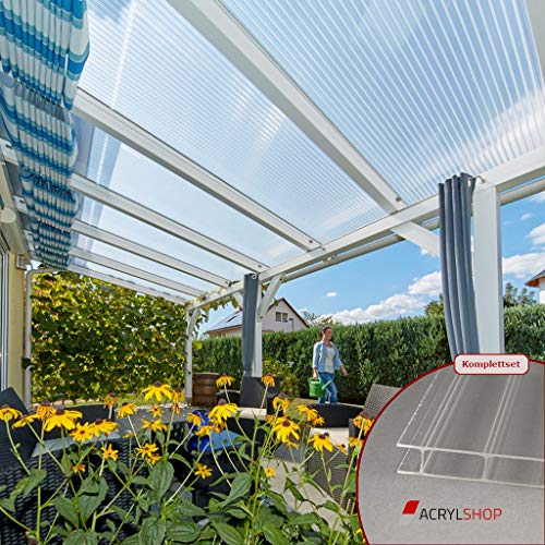 ACRYLSHOP24 Terrassendach Terrassenüberdachung Carport Komplettset Polycarbonat 16/32 Farblos Stegplatten Tiefe:3000mm|Breite:3090mm - Mehrere Maße verfügbar
