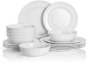 طقم أواني طعام تي بي، طقم أطباق ميلامين 18 قطعة، خدمة العشاء لـ 6 أطباق طعام وأوعية عشاء للسلطة، لون أبيض