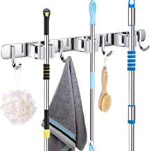 2 pièces support de vadrouille à balai mural en acier inoxydable organisateur de rangement robuste outils cintre avec 3 su...