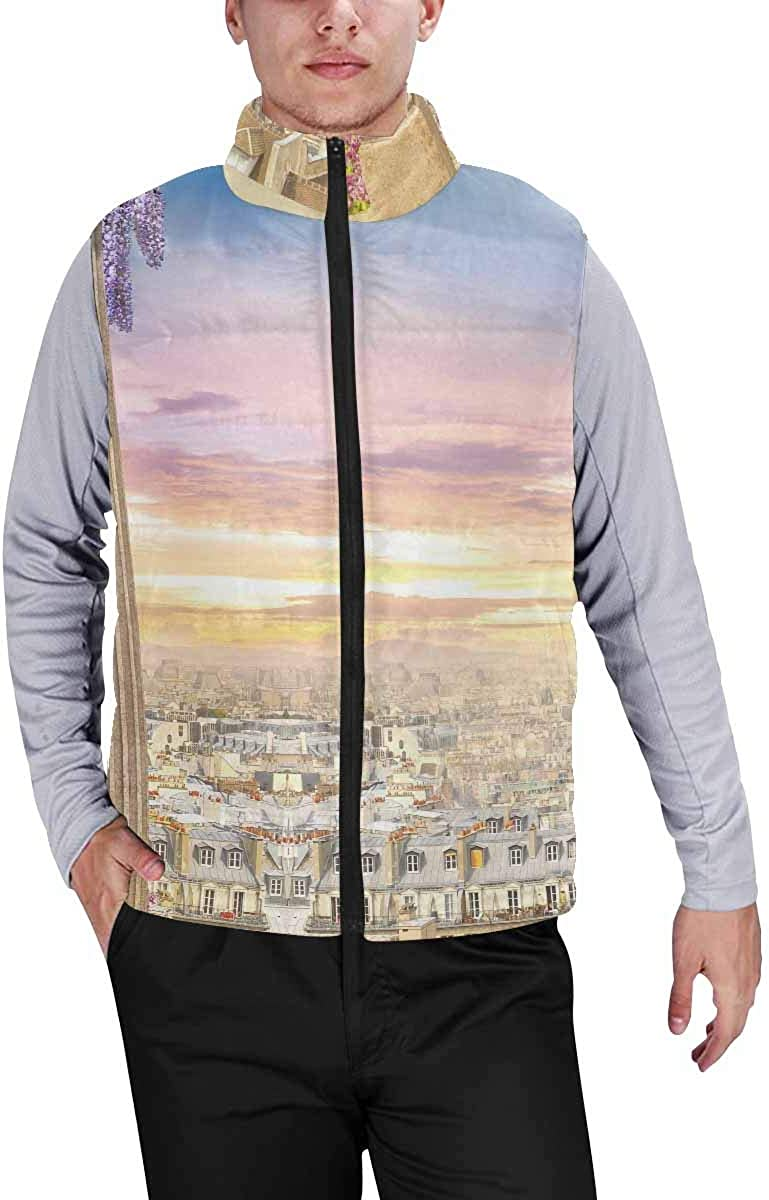 InterestPrint Men's Winter Full-Zip Outwear Padded Vest Coats Beautiful Mandala